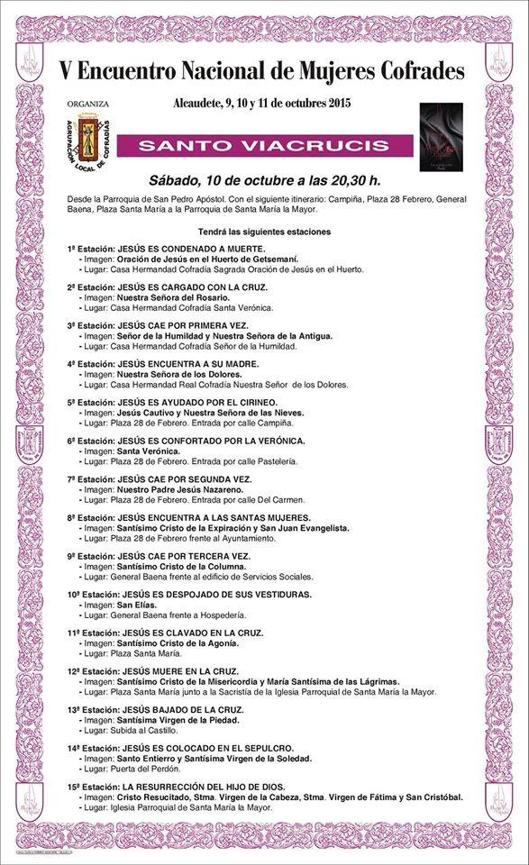 Cartel del Via Crucis organizado con motivo del V Encuentro Nacional de Mujeres Cofrades en Alcaudete