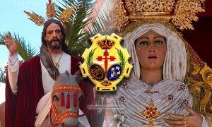 La Borriquilla, el escudo de la Hermandad y Ntra. Sra. de la Alegría